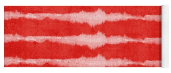 Red And White Shibori Design Yoga Mat
