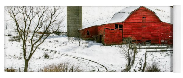 Red Barn In Snow Yoga Mat