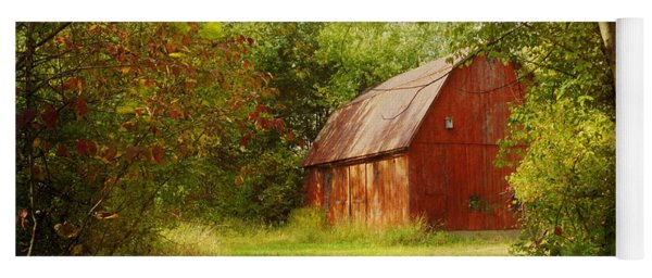 Red Barn In The Woods Yoga Mat