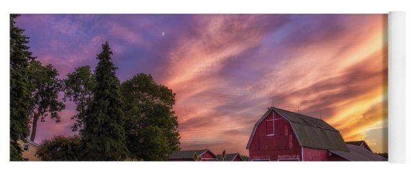 Red Barn Sunset 2 Yoga Mat