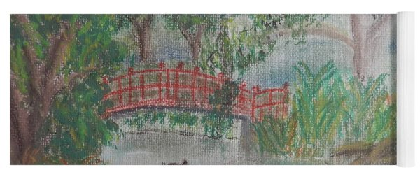 Red Bridge At Wollongong Botanical Gardens Yoga Mat