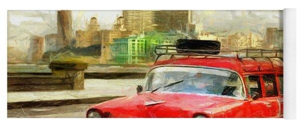 Red Car Drawing Yoga Mat