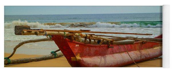 Red Catamaran At The Hikkaduwa Beach Yoga Mat