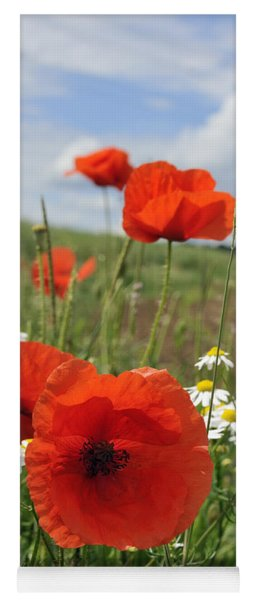 Red Corn Poppy And Green Meadow Yoga Mat
