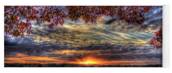 Good Bye Until Tomorrow Fall Leaves Sunset Lake Oconee Georgia Yoga Mat