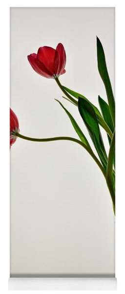 Red Flowers In Glass Vase Yoga Mat