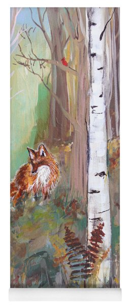 Red Fox And Cardinals Yoga Mat