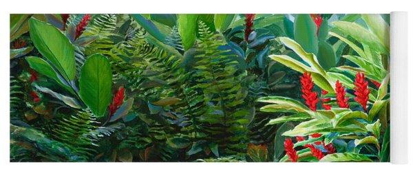 Tropical Jungle Landscape - Red Garden Hawaiian Torch Ginger Wall Art Yoga Mat