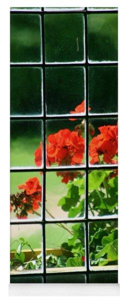 Red Geranium Through Leaded Window Yoga Mat