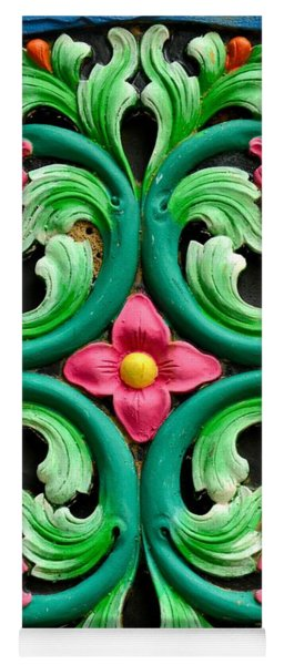 Red Green And Blue Floral Design Singapore Yoga Mat