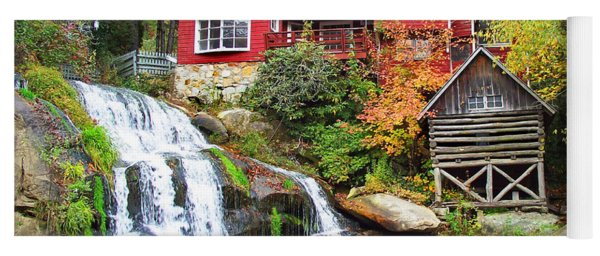 Red House By The Waterfall Yoga Mat