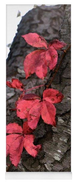 Red Leaves On Bark Yoga Mat