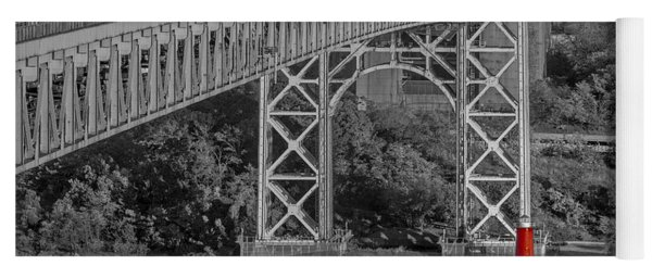 Red Lighthouse And Great Gray Bridge Bw Yoga Mat