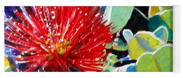 Red Ohia Lehua Flower Yoga Mat