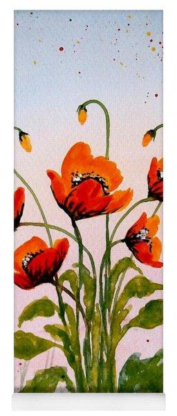 Red Poppies Original Watercolor  Yoga Mat
