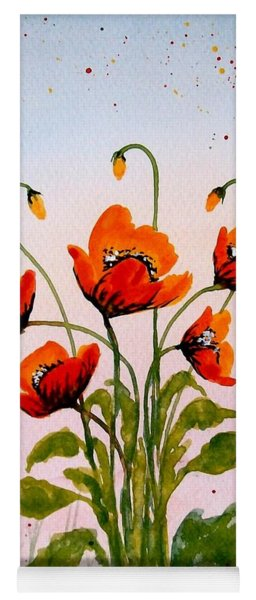 Red Poppies Original Watercolor  Yoga Mat
