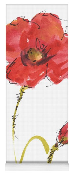 Red Poppy And Bud Yoga Mat