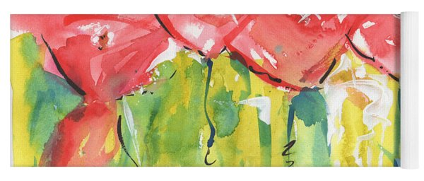 Red Poppy Party Yoga Mat