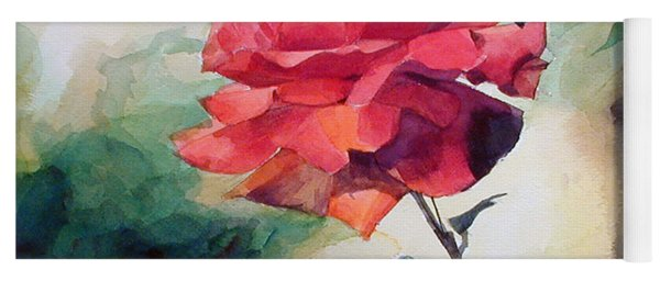 Watercolor Of A Single Red Rose On A Branch Yoga Mat