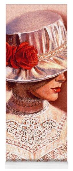 Red Roses Satin Hat Yoga Mat