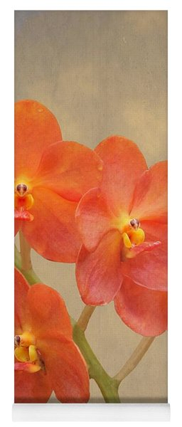 Red Scarlet Orchid On Grunge Yoga Mat