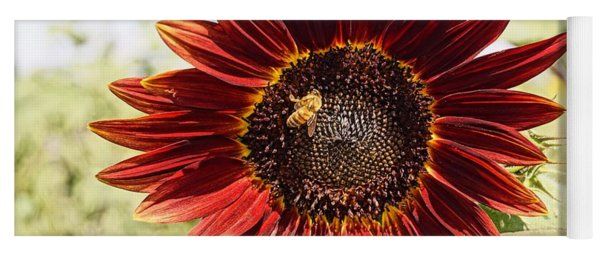 Red Sunflower And Bee Yoga Mat