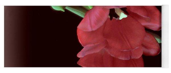 Red Tulip On Burgundy Yoga Mat