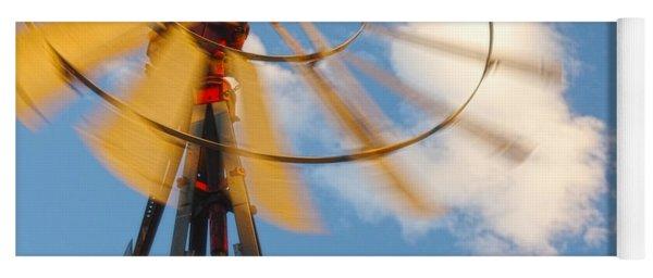 Red Wind Windmill Yoga Mat