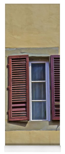 Red Window Shutters Of Florence Yoga Mat