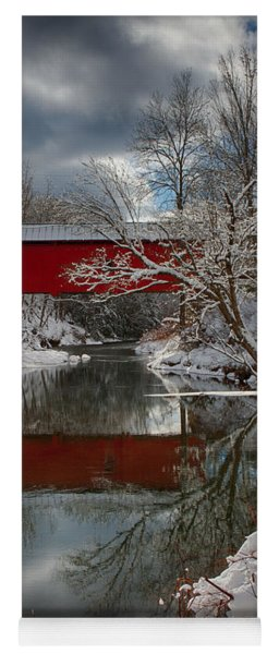 reflection of Slaughterhouse covered bridge Yoga Mat