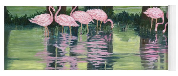 Yoga Mat featuring the painting Reflections In Pink by Karen Zuk Rosenblatt