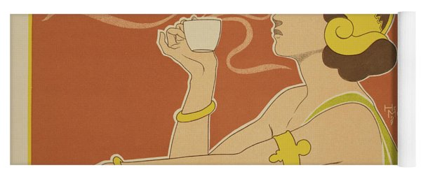 Reproduction Of A Poster Advertising The 'cafe Rajah' Yoga Mat