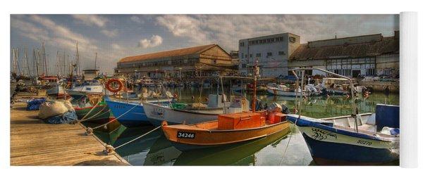 resting boats at the Jaffa port Yoga Mat
