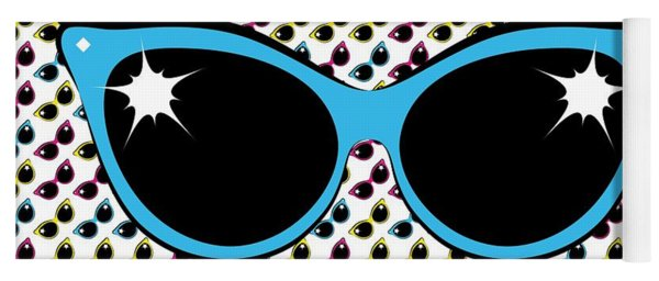Retro Blue Cat Sunglasses Yoga Mat