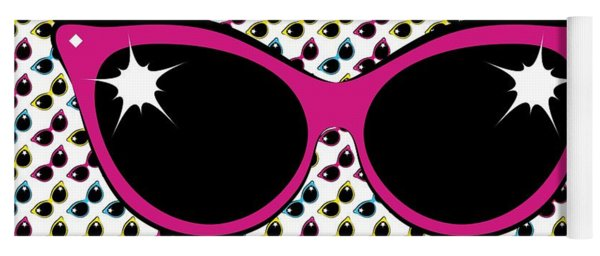 Retro Pink Cat Sunglasses Yoga Mat
