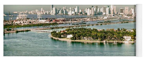 Retro Style Miami Skyline And Biscayne Bay Yoga Mat