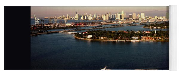 Retro Style Miami Skyline Sunrise And Biscayne Bay Yoga Mat