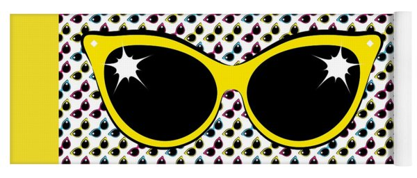 Retro Yellow Cat Sunglasses Yoga Mat