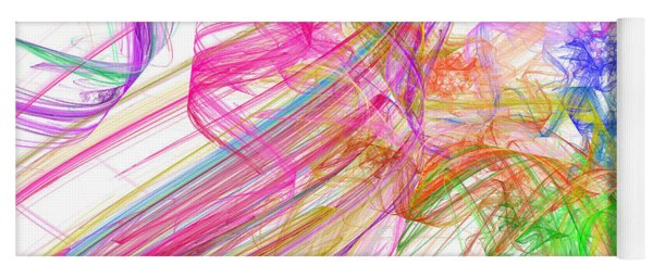 Ribbons And Curls White - Abstract - Fractal Yoga Mat
