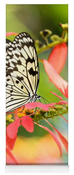 Rice Paper Butterfly In The Garden Yoga Mat