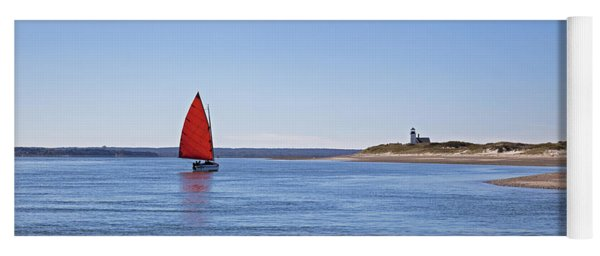 Ripple Catboat With Red Sail And Lighthouse Yoga Mat