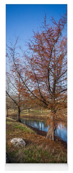 River And Winter Trees Yoga Mat