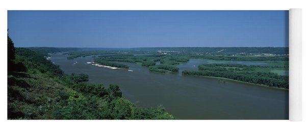 River Flowing Through A Landscape Yoga Mat
