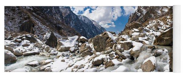 River Flowing Through Rocks, Modi Khola Yoga Mat