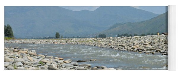 Riverbank Water Rocks Mountains And A Horseman Swat Valley Pakistan Yoga Mat