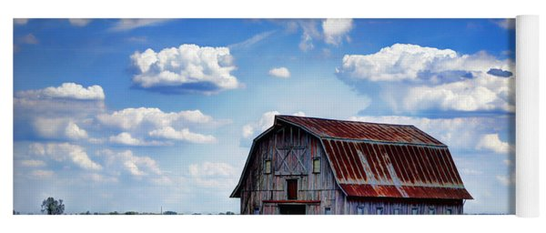 Riverbottom Barn Against The Sky Yoga Mat