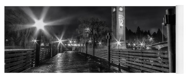 Riverfront Park Clocktower Seahawks Black And White Yoga Mat