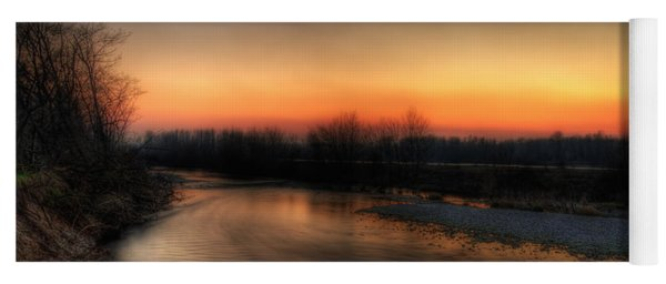 Riverscape At Sunset Yoga Mat