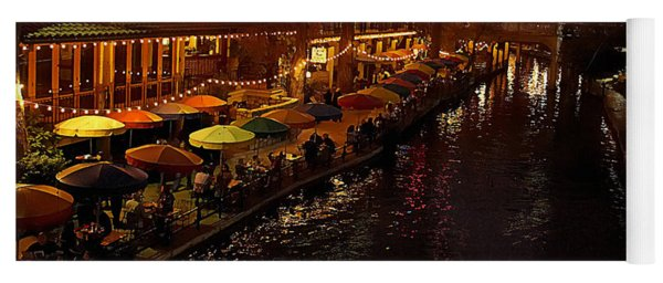 Yoga Mat featuring the photograph Riverwalk Night by Mary Jo Allen