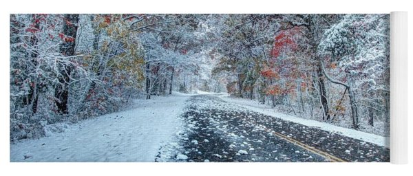 Road To Snow On The Blue Ridge Parkway Yoga Mat